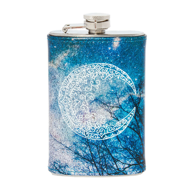 Moon and Glittery Night Sky Flask,