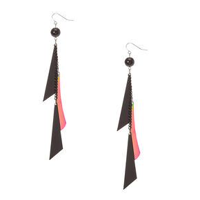 Black and Mirrored Geometric Fringe Drop Earrings,