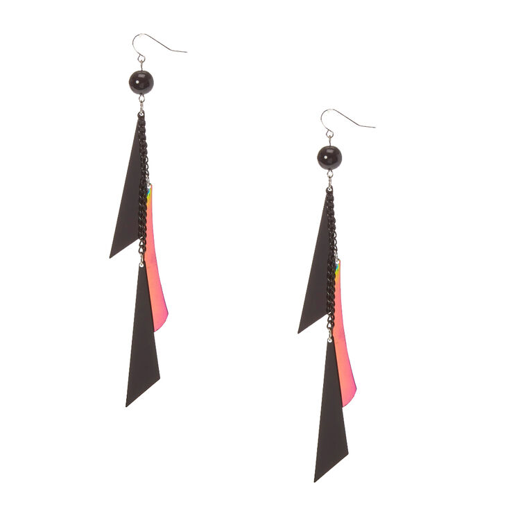Black and Mirrored Geometric Fringe Drop Earrings at Icing in Victor, NY | Tuggl