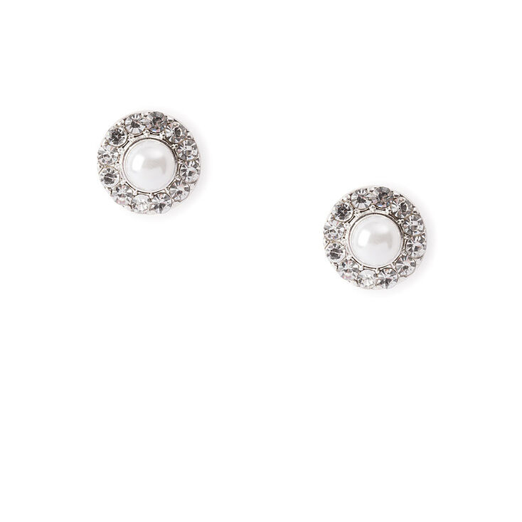 Pearl and Pavé Rhinestone Circles Stud Earrings,