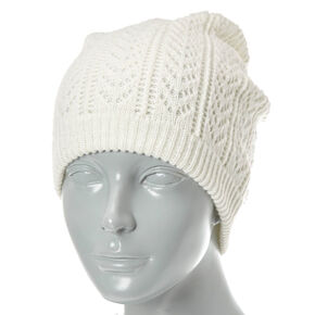 Ivory Knit Patterned Winter Beanie,
