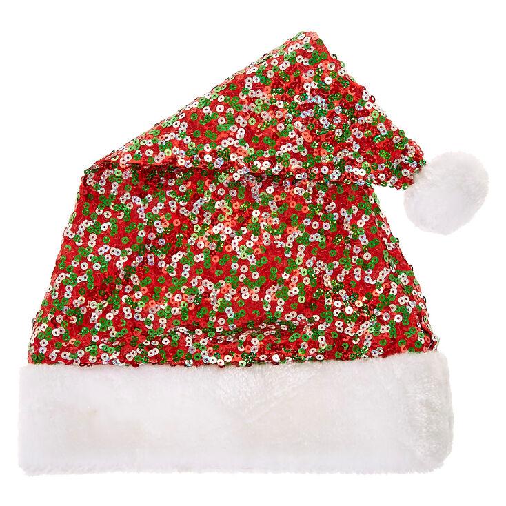 Red & Green Sequin Santa Hat,