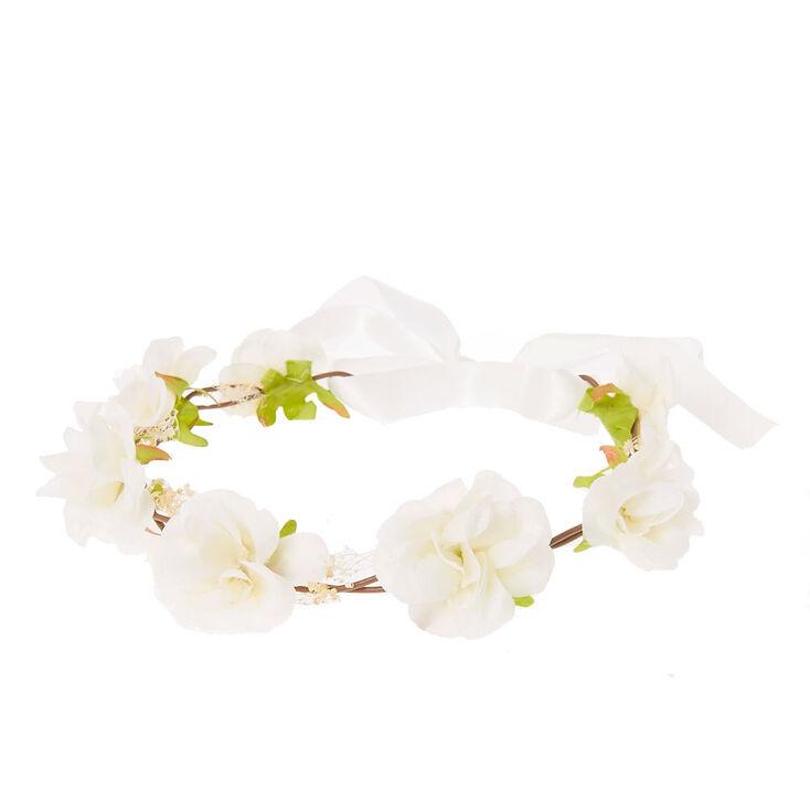 White Rosette Hair Garland Flower Crown,