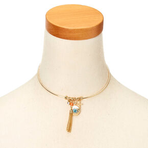 Gold-Tone Mystical Themed Choker Necklace,