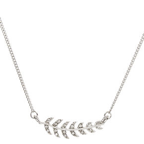 Silver Toned Glitter Leaf Necklace,