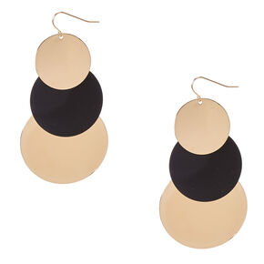 Gold and Black Disc Drop Earrings,