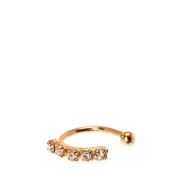 Gold Tone Rhinestone Faux Nose Hoop Ring,
