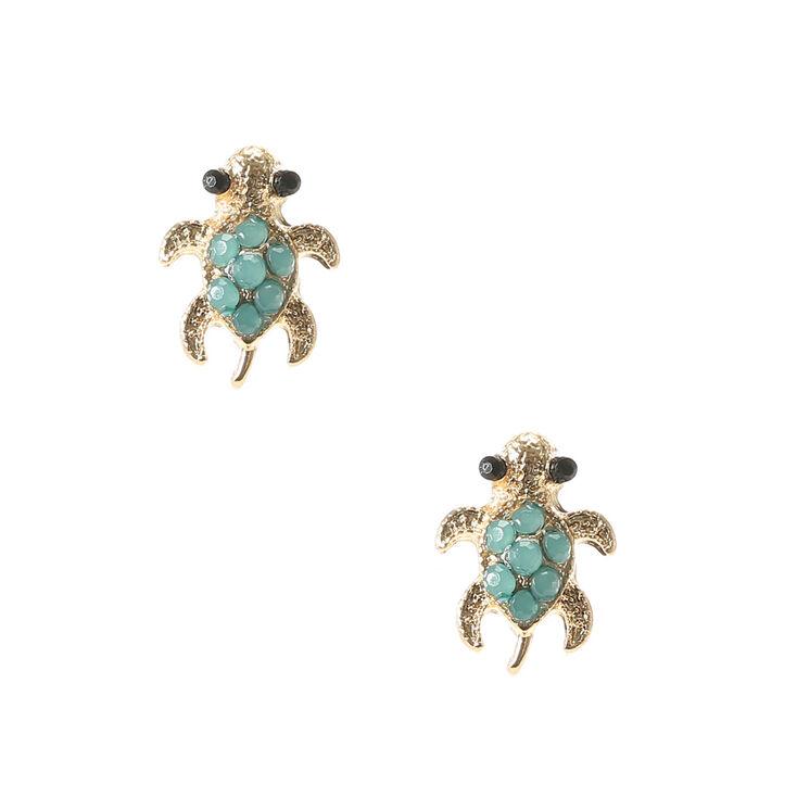 gold turtle turquoise stud earrings s