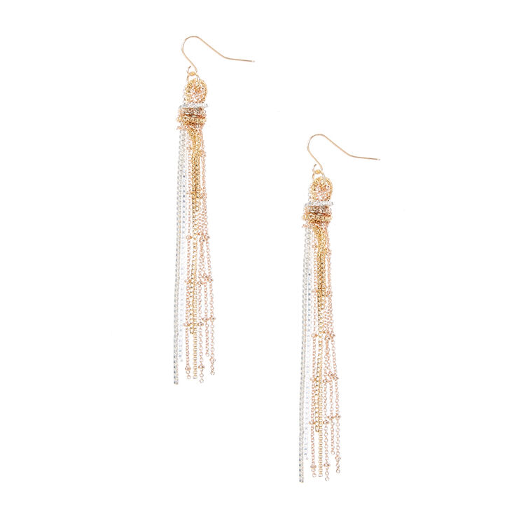 Mixed Metal  Knotted Chain Fringe Drop Earrings,