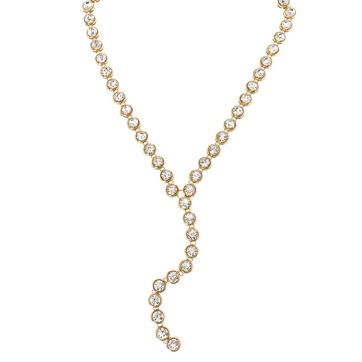 Gold-tone Round Crystal Y-Necklace,