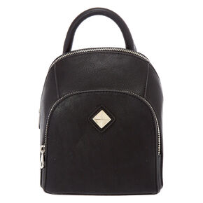 Faux Leather Black Mini Two Way Backpack,