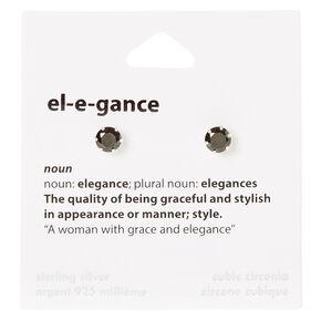 Sterling Silver Cubic Zirconia Black Elegance Stud Earrings,