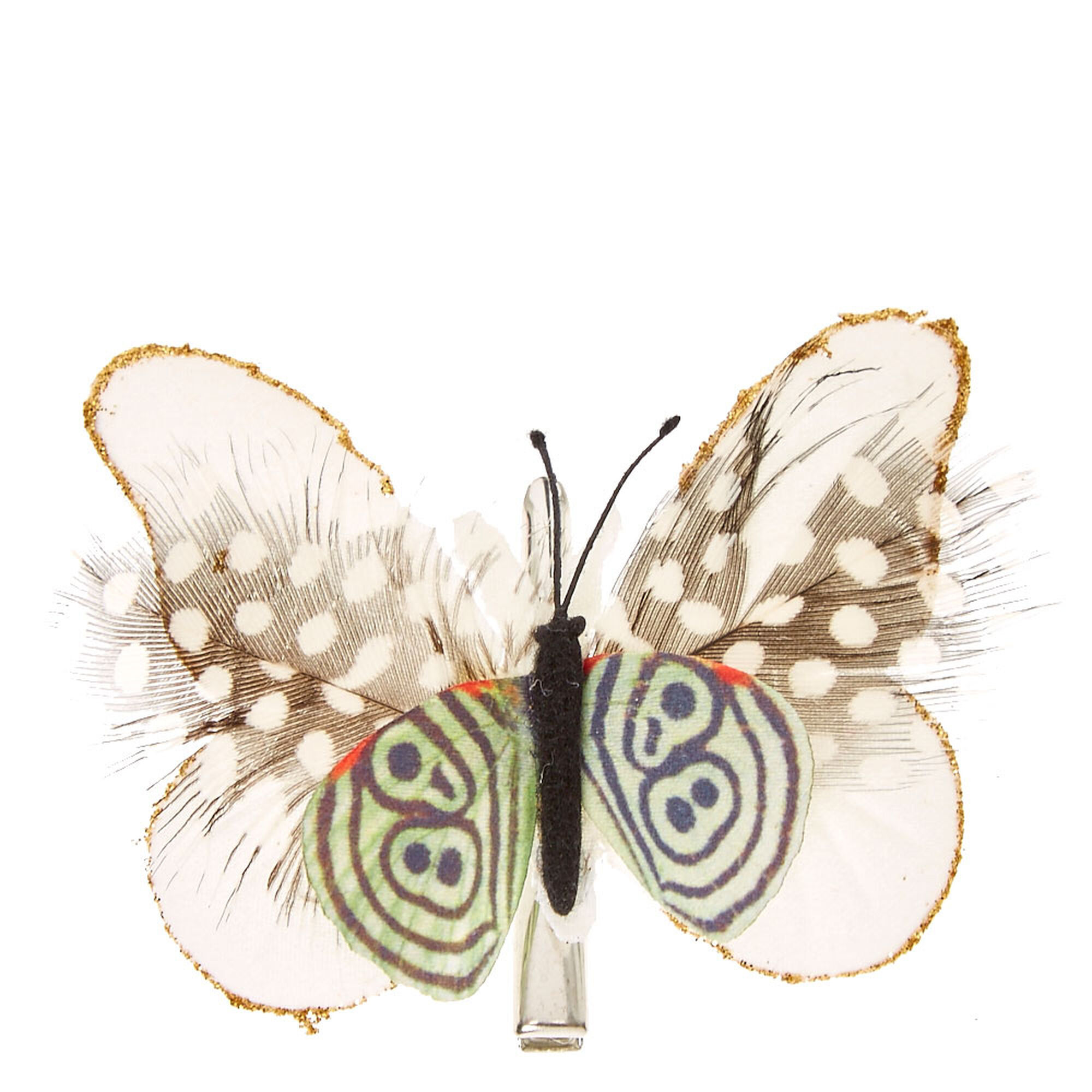 Butterfly hair accessories for weddings uk - White Spotted Butterfly Hair Clip
