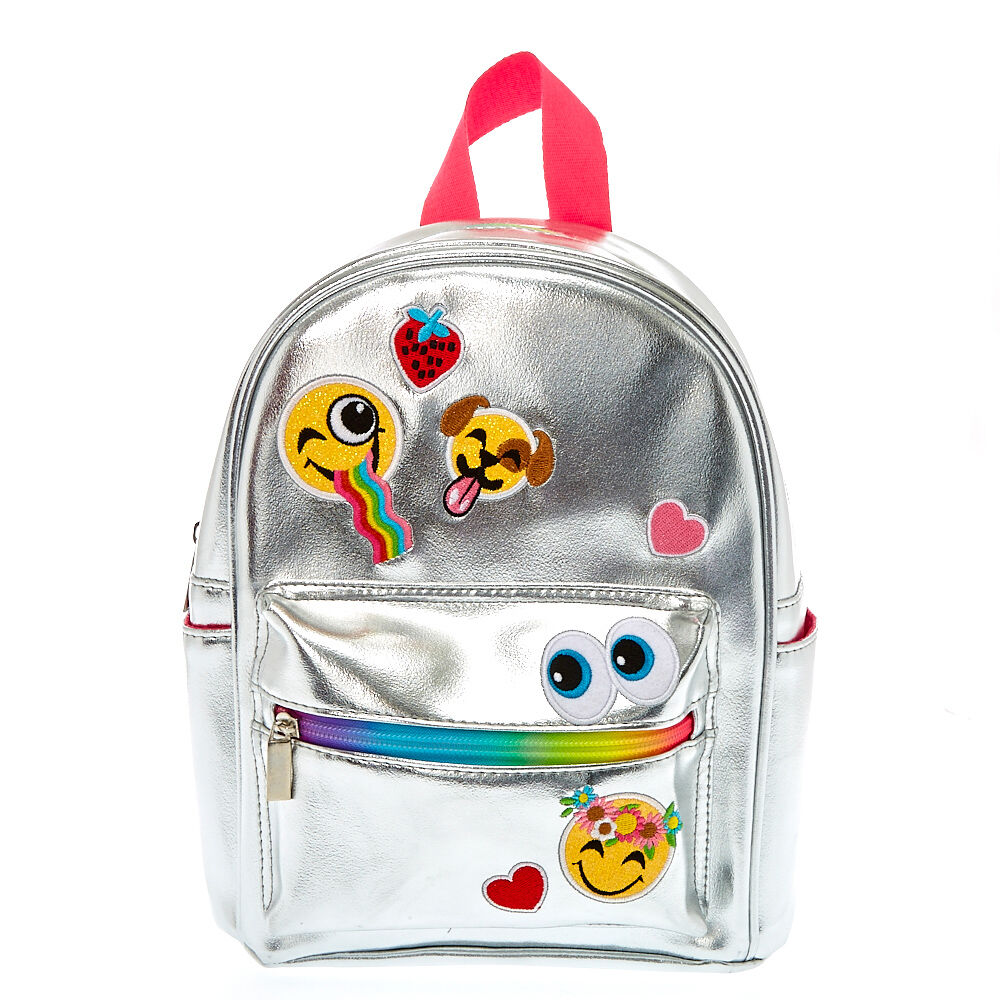 Mini Metallic Silver Emoji Backpack Claire