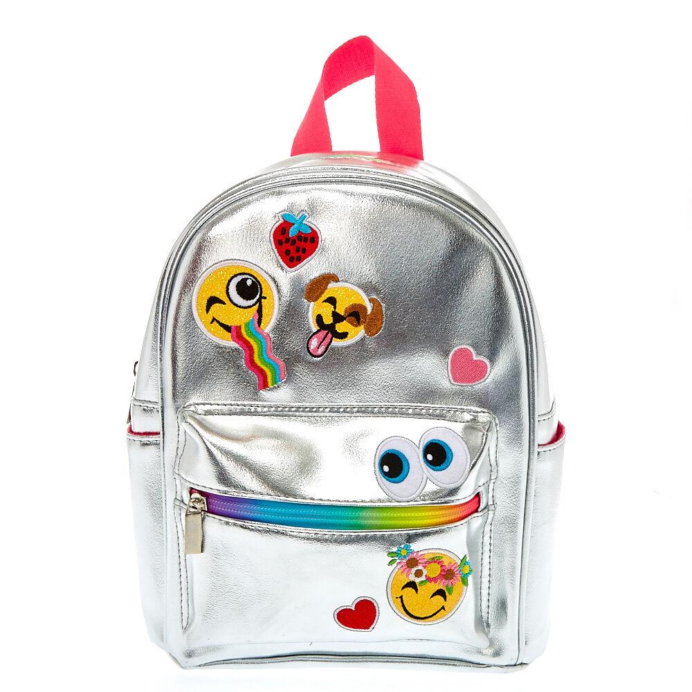 Mini Metallic Silver Emoji Backpack Claire