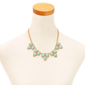 3 Leaf Mint Enamel Gem Necklace and Earrings Set,