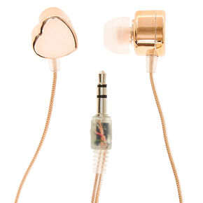 Rose-Gold Toned Heart Shaped Earbuds,
