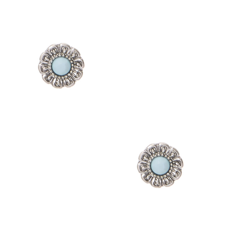silver tone flower with blue bead center stud earrings