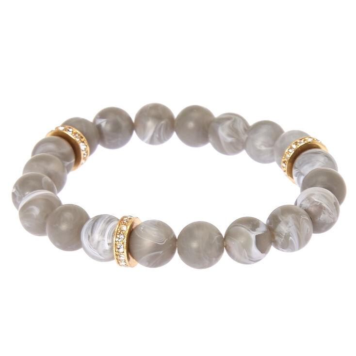 Slate Beaded Stretch Karma Bracelet,