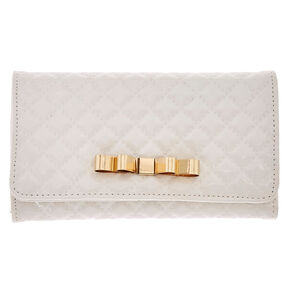 White Quilted Tech Wallet,