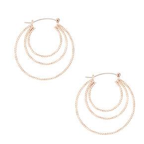 Rose Gold-tone Triped Roped Hoop Earrings,