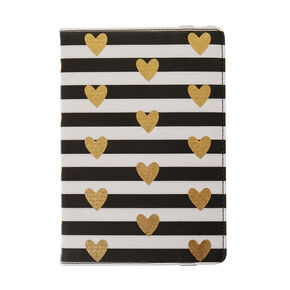 Black and White Striped Gold Hearts Universal Tablet Cover,