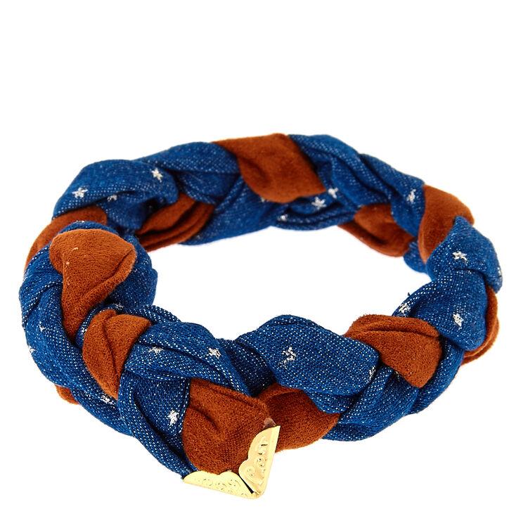 Braided Denim Stars Wrap Bracelet,