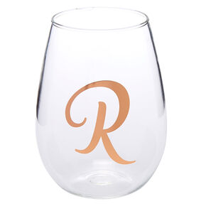 "Rose Gold-Tone ""R"" Initial Stemless Wine Glass,"
