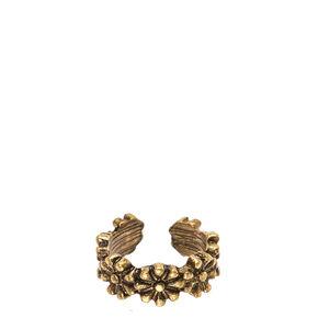 Burnished Gold Flower Ear Cuff,
