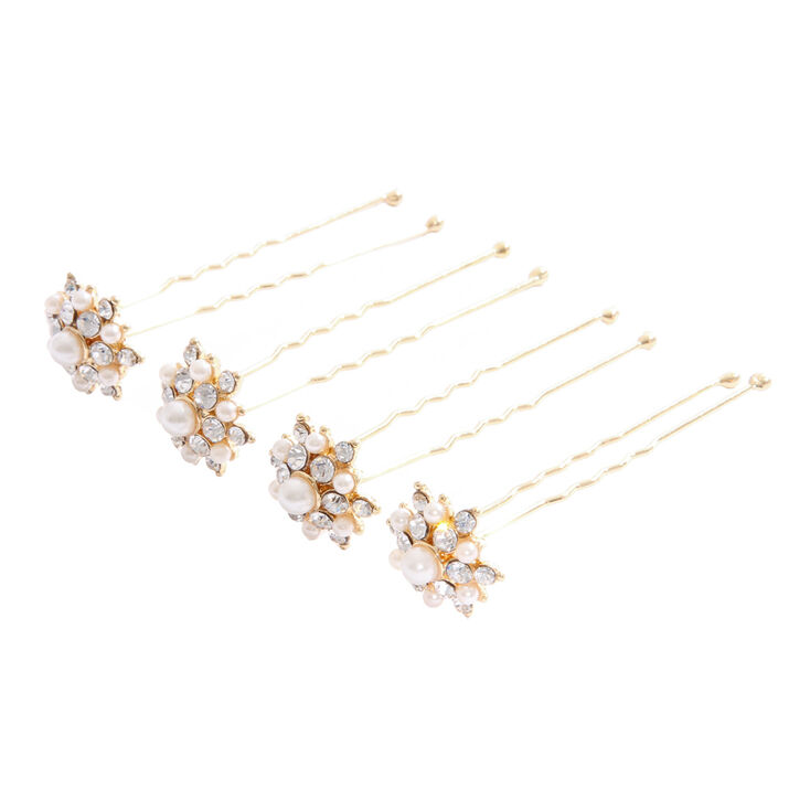 Golden Pearl & Crystal Flower Hair Pins at Icing in Victor, NY | Tuggl