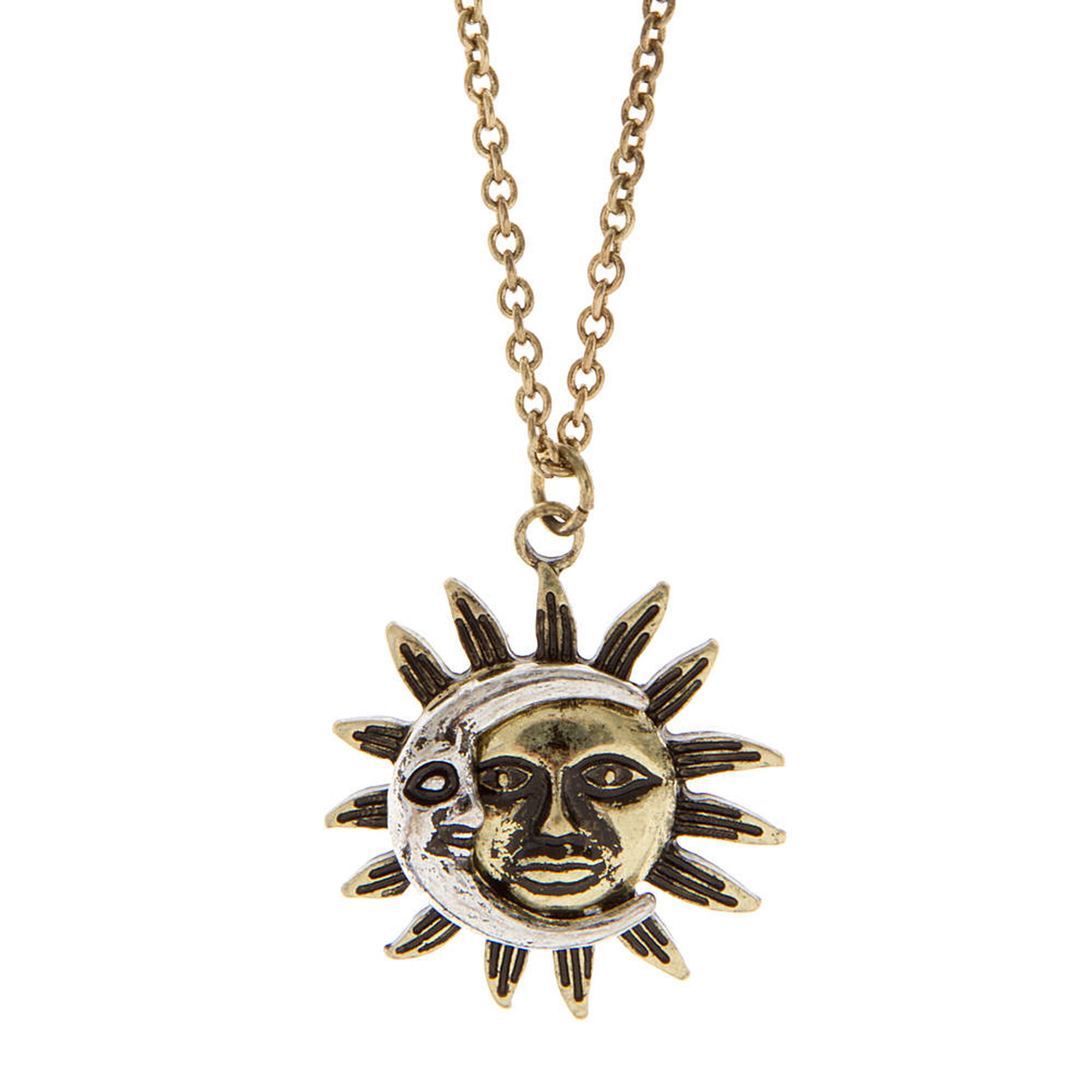 Antique Silver And Burnished Gold Moon And Sun Pendant