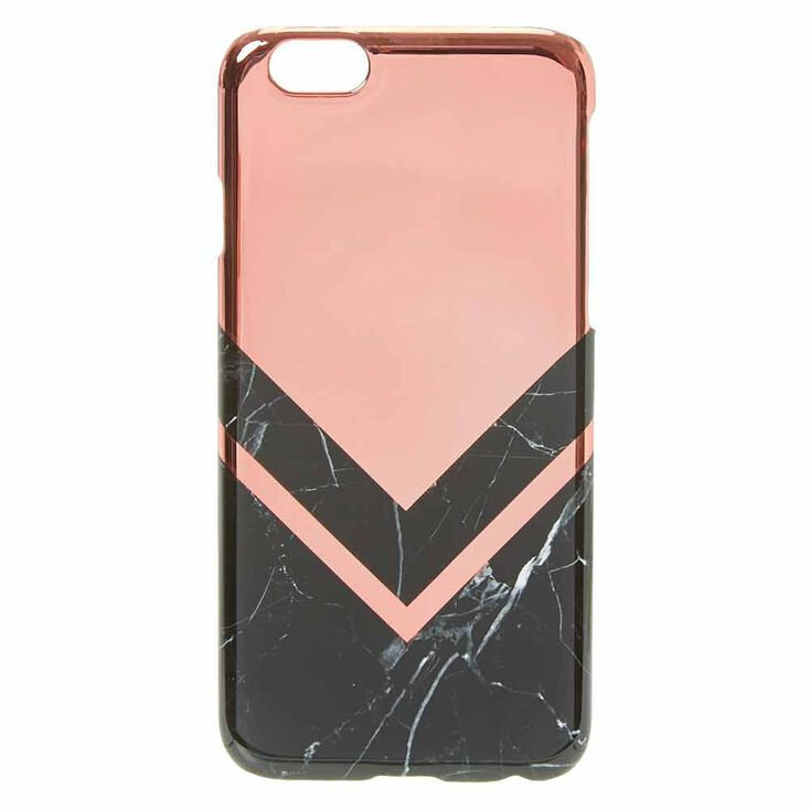 Rose Gold Toned And Black Marble Print Phone Case,