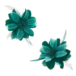 Emerald Feather Lily Hair Clips,