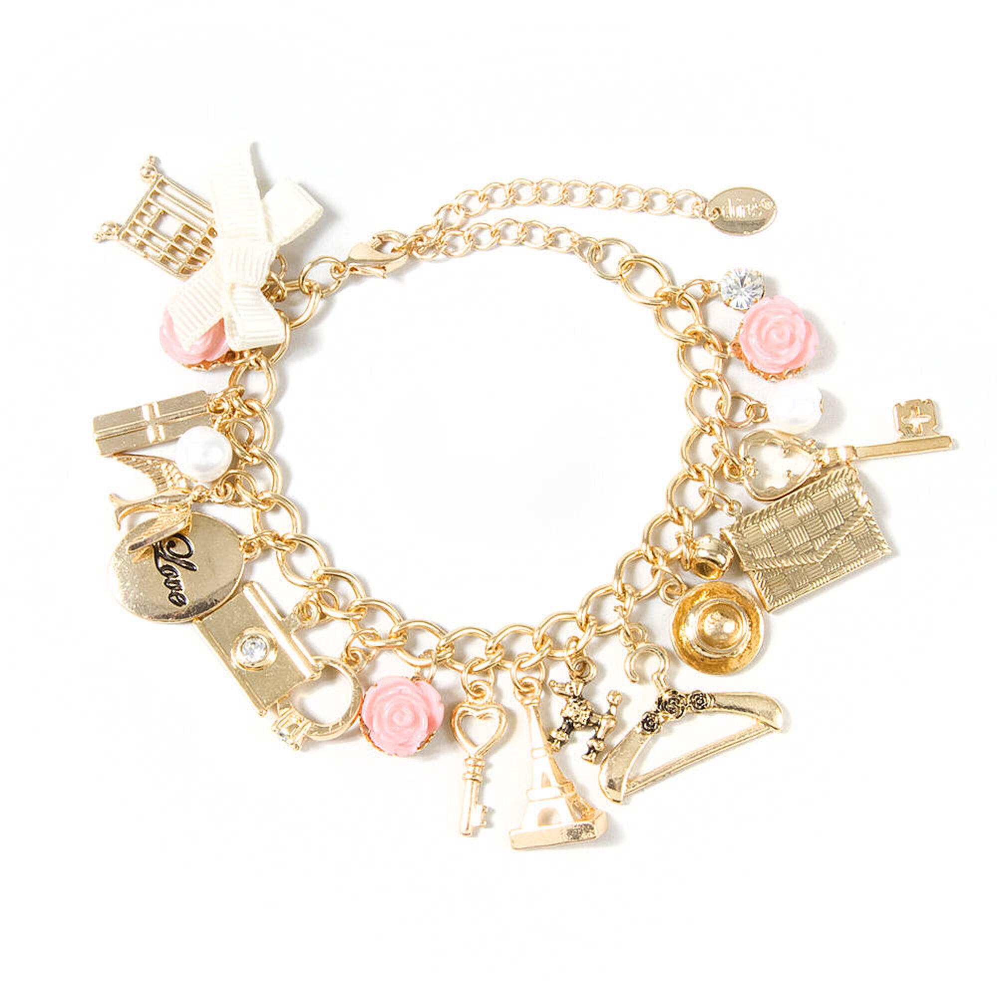 Paris Inspired Gold Charm Bracelet