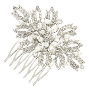 Silver-tone  Faux Crystal Pearl Bead Cluster Leaves Hair Comb,