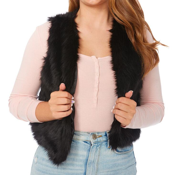 Black Faux Fur Vest,