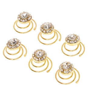 Gold Rhinestone Round Crystal Hair Jewels Set of 6,