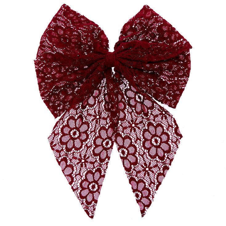 Burgundy Lace Jumbo Tail Hair Bow,