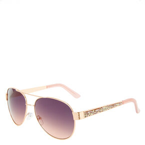 Gold Rimmed Stone Arm Aviator Sunglasses,