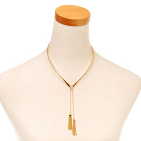Gold Tassel Collar Necklace,