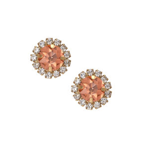 Large Pink Round Crystal Button Stud Earrings,
