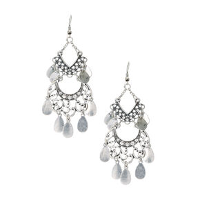 Silver Filigree Medallion with Coin Fringe Drop Earrings,