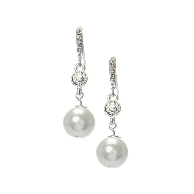 paire de boucles d 39 oreilles pendantes strass avec grosse perle claire 39 s fr. Black Bedroom Furniture Sets. Home Design Ideas