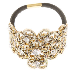 Burnished Gold-tone Filigree Hair Tie,