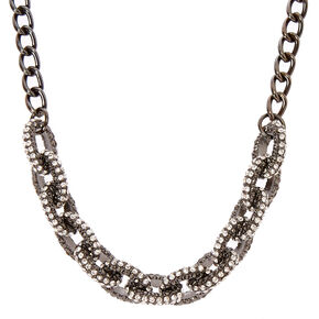 Black Chainlink Necklace with Simulated Rhinestones,