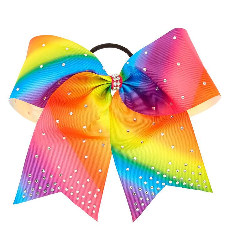 Rainbow Rhinestone Cheer Bow Hair Tie Claire S Us