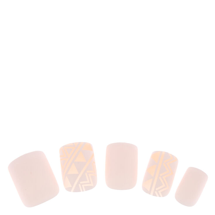 White & Nude Geometric False Nails,