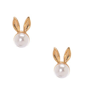 White Faux Pearl Gold Bunny Ears Stud Earrings,
