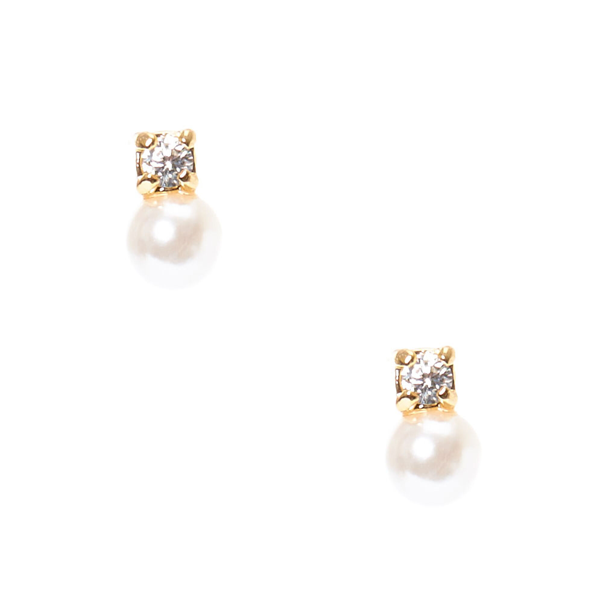 Gold Framed Cubic Zirconia and Faux Ivory Pearl Duo Stud Earrings