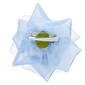 Large Light Blue Chiffon Rose Hair Clip,